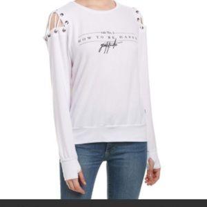 NWT Cinthia Happy Tie-Shoulder Sweatshirt